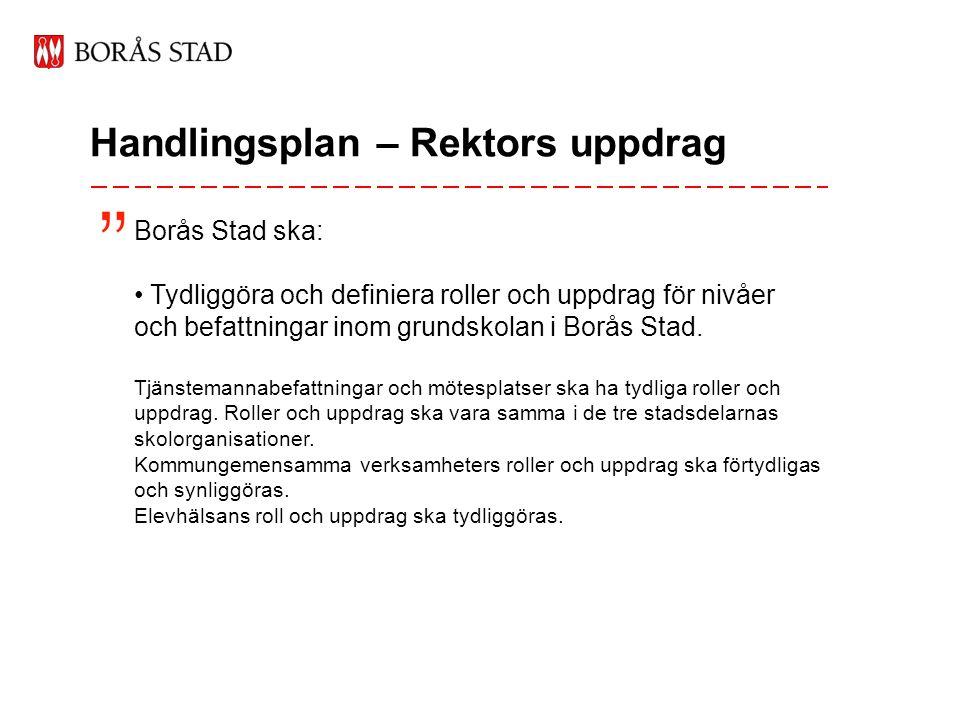 Handlingsplan – Rektors uppdrag Borås Stad ska: • Tydliggöra och definiera roller och uppdrag för nivåer och befattningar inom grundskolan i Borås Stad.