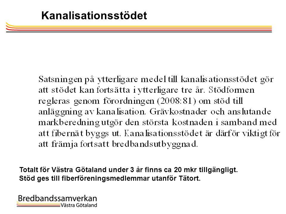Kanalisationsstödet Totalt för Västra Götaland under 3 år finns ca 20 mkr tillgängligt. Stöd ges till fiberföreningsmedlemmar utanför Tätort.