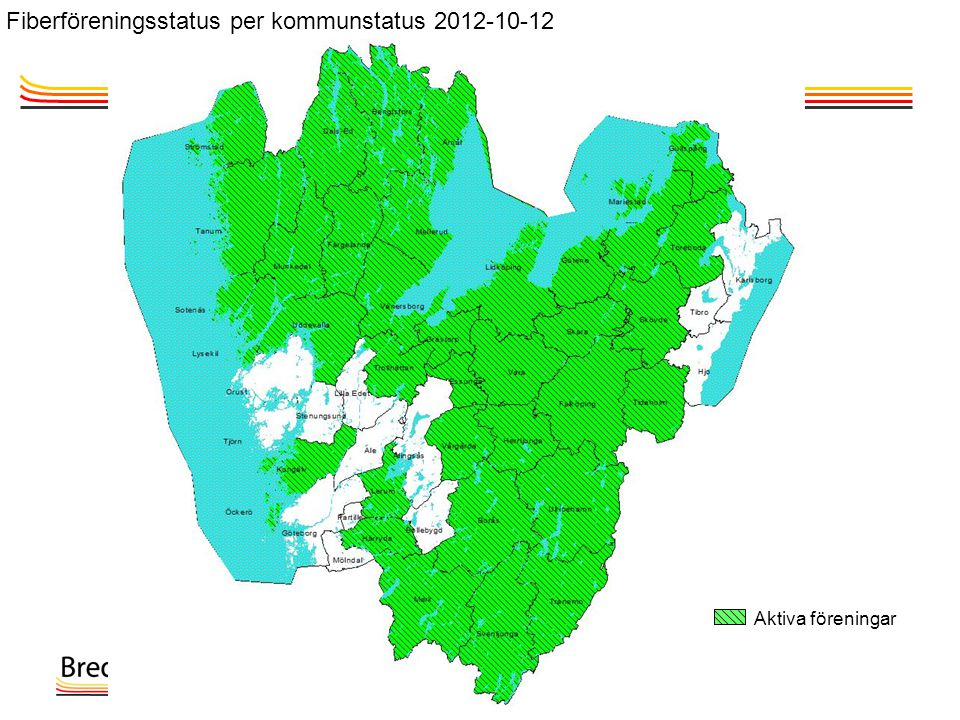 Aktiva föreningar Fiberföreningsstatus per kommunstatus 2012-10-12