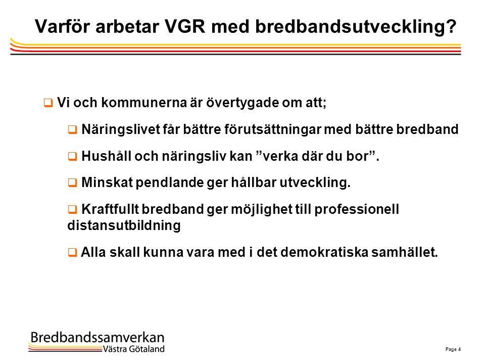 Page 4 Varför arbetar VGR med bredbandsutveckling?  Vi och kommunerna är övertygade om att;  Näringslivet får bättre förutsättningar med bättre bred