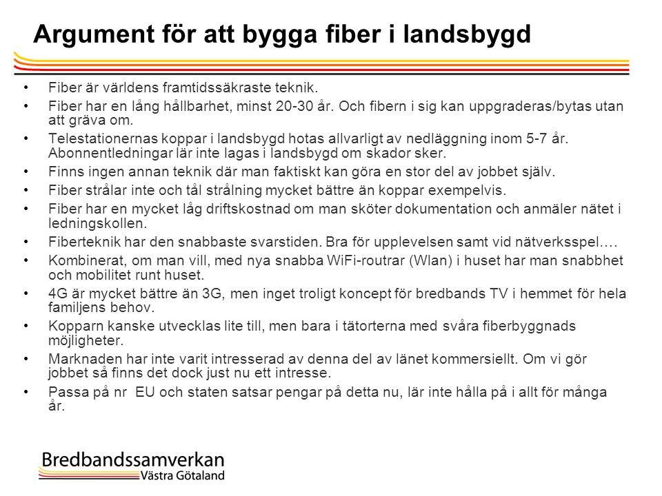 Argument för att bygga fiber i landsbygd • Fiber är världens framtidssäkraste teknik. • Fiber har en lång hållbarhet, minst 20-30 år. Och fibern i sig