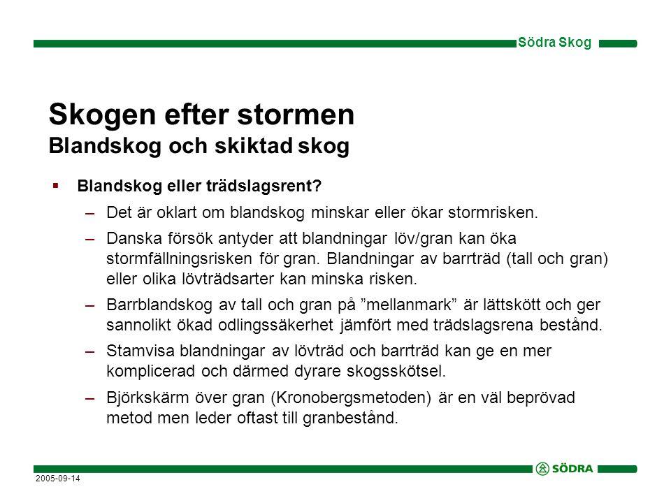 Södra Skog 2005-09-14 Skogen efter stormen Blandskog och skiktad skog  Blandskog eller trädslagsrent.