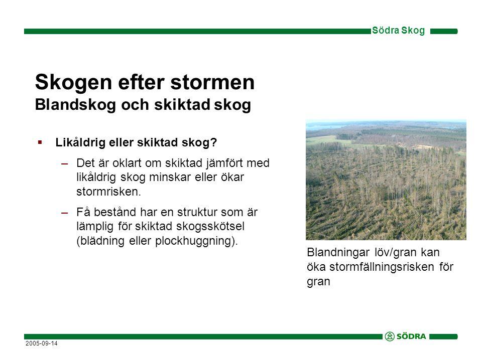 Södra Skog 2005-09-14 Skogen efter stormen Blandskog och skiktad skog  Likåldrig eller skiktad skog.