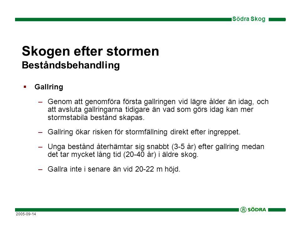 Södra Skog 2005-09-14 Skogen efter stormen Beståndsbehandling  Gallring –Genom att genomföra första gallringen vid lägre ålder än idag, och att avsluta gallringarna tidigare än vad som görs idag kan mer stormstabila bestånd skapas.