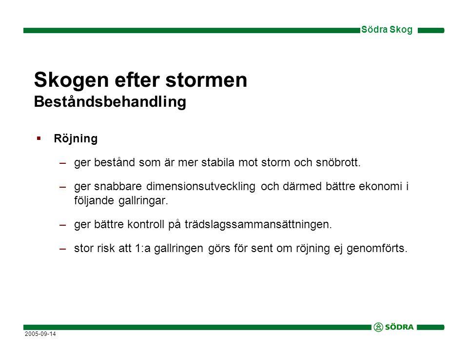 Södra Skog 2005-09-14 Skogen efter stormen Beståndsbehandling  Röjning –ger bestånd som är mer stabila mot storm och snöbrott.