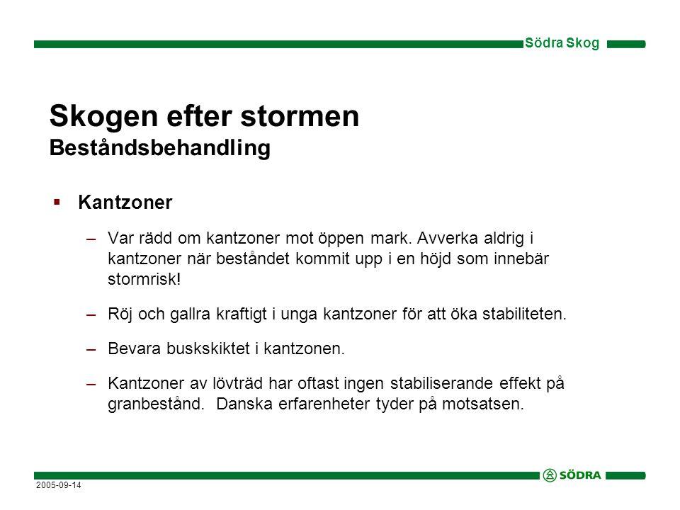 Södra Skog 2005-09-14 Skogen efter stormen Beståndsbehandling  Kantzoner –Var rädd om kantzoner mot öppen mark.