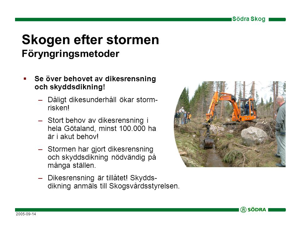 Södra Skog 2005-09-14 Skogen efter stormen Föryngringsmetoder  Se över behovet av dikesrensning och skyddsdikning.