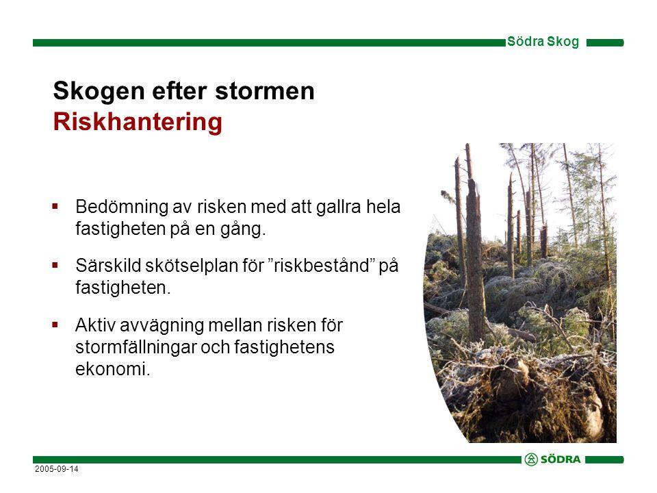 Södra Skog 2005-09-14  Bedömning av risken med att gallra hela fastigheten på en gång.