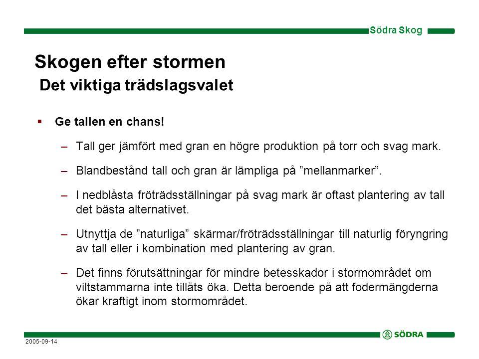 Södra Skog 2005-09-14  Björk, naturligt föryngrad, är det främsta lövträdsalternativet –Naturlig föryngring av björk ger jämfört med planterad gran låg produktion, men också låga anläggningskostnader om man lyckas.