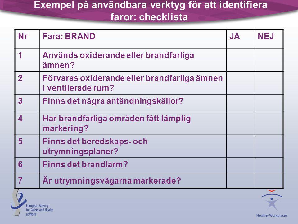Exempel på användbara verktyg för att identifiera faror: checklista NrFara: BRANDJANEJ 1Används oxiderande eller brandfarliga ämnen? 2Förvaras oxidera