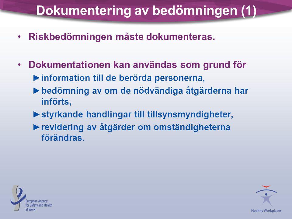 Dokumentering av bedömningen (1) •Riskbedömningen måste dokumenteras. •Dokumentationen kan användas som grund för ►information till de berörda persone