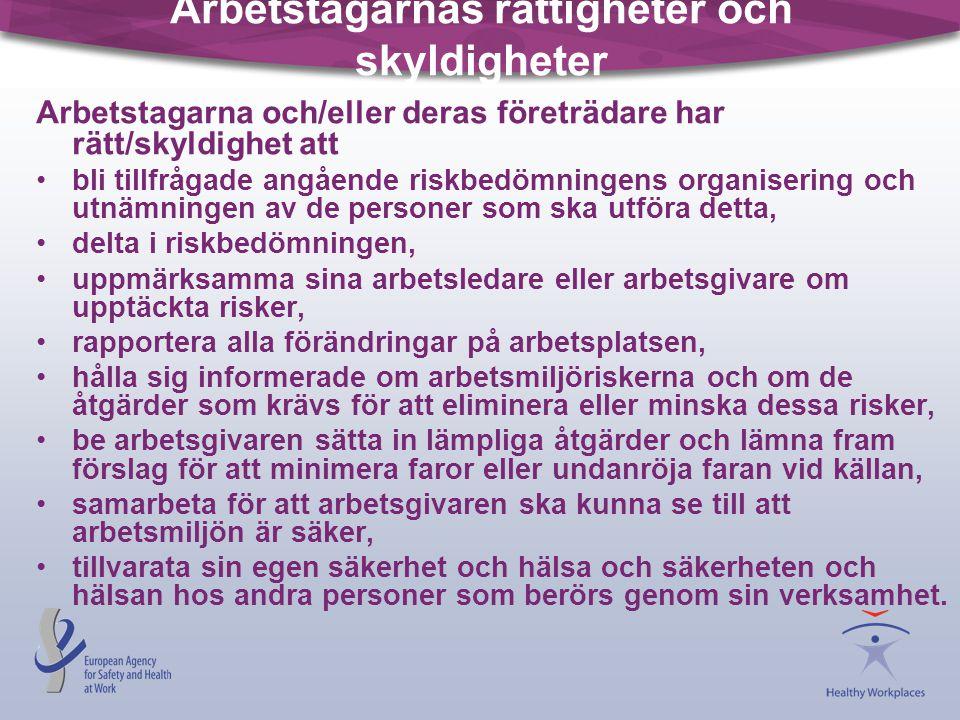 Arbetstagarnas rättigheter och skyldigheter Arbetstagarna och/eller deras företrädare har rätt/skyldighet att •bli tillfrågade angående riskbedömninge
