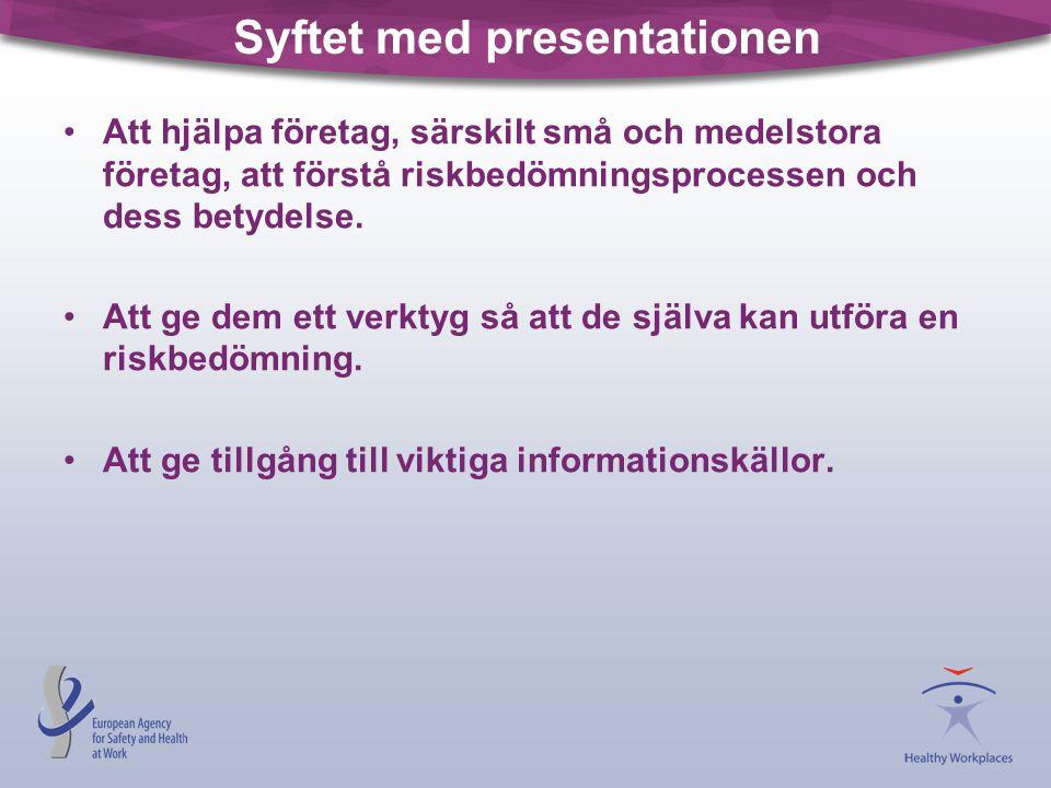Syftet med presentationen •Att hjälpa företag, särskilt små och medelstora företag, att förstå riskbedömningsprocessen och dess betydelse. •Att ge dem