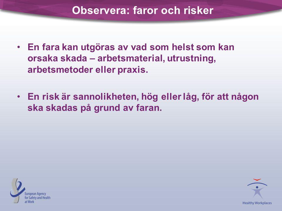 Observera: faror och risker •En fara kan utgöras av vad som helst som kan orsaka skada – arbetsmaterial, utrustning, arbetsmetoder eller praxis. •En r