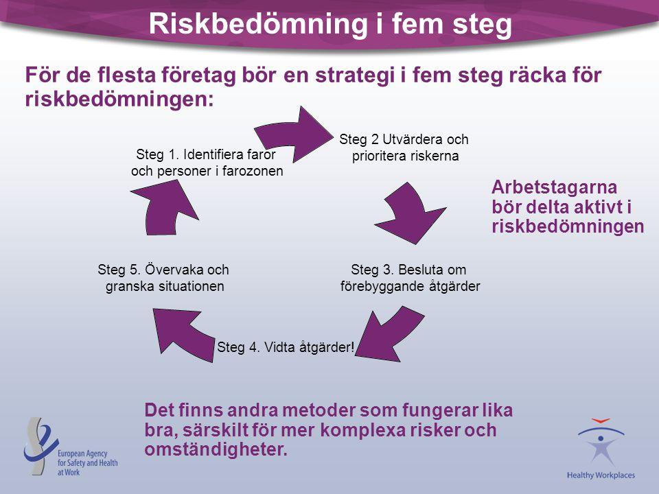 Riskbedömning i fem steg Det finns andra metoder som fungerar lika bra, särskilt för mer komplexa risker och omständigheter. Steg 2 Utvärdera och prio