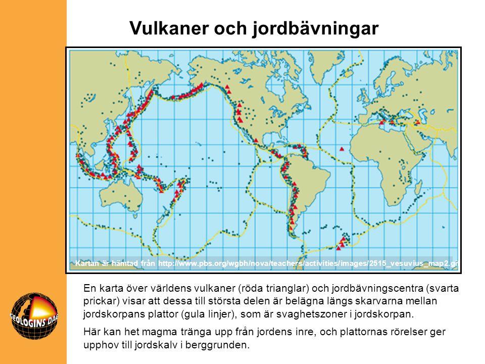 En karta över världens vulkaner (röda trianglar) och jordbävningscentra (svarta prickar) visar att dessa till största delen är belägna längs skarvarna