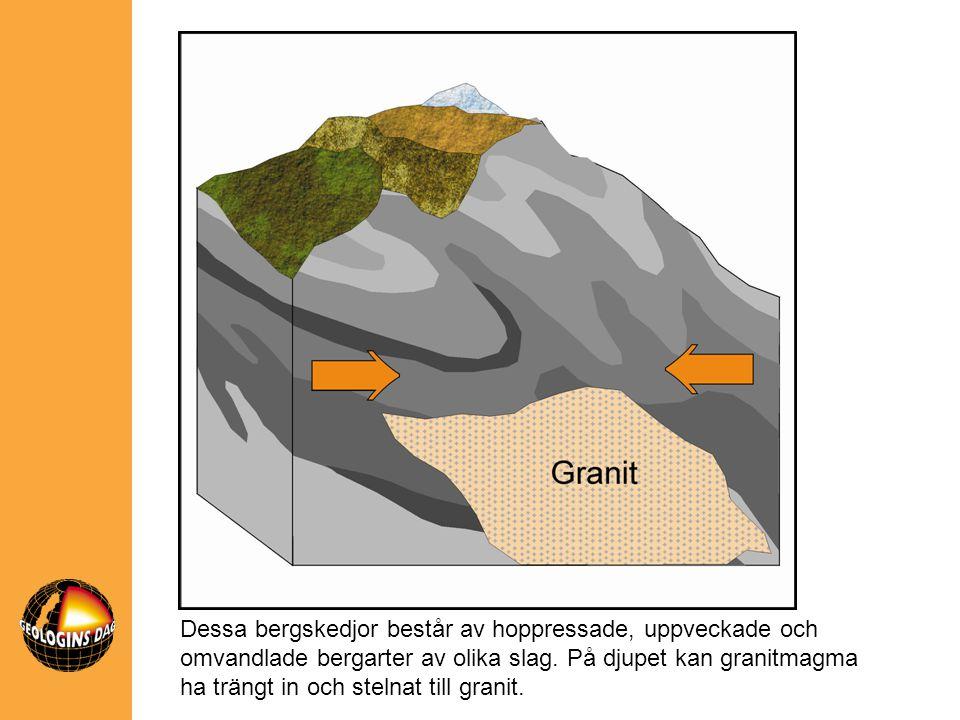 Dessa bergskedjor består av hoppressade, uppveckade och omvandlade bergarter av olika slag. På djupet kan granitmagma ha trängt in och stelnat till gr