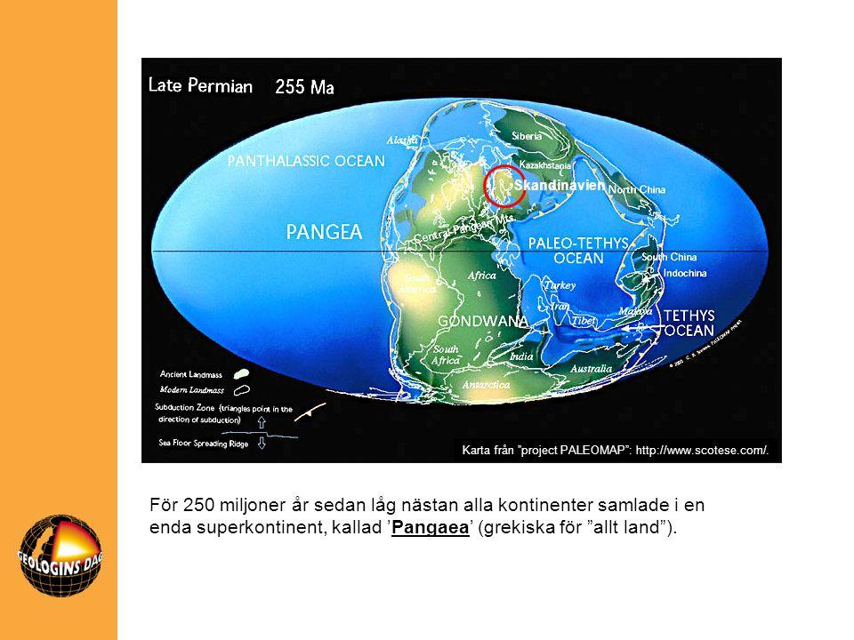 """Skandinavien För 250 miljoner år sedan låg nästan alla kontinenter samlade i en enda superkontinent, kallad 'Pangaea' (grekiska för """"allt land""""). Kart"""
