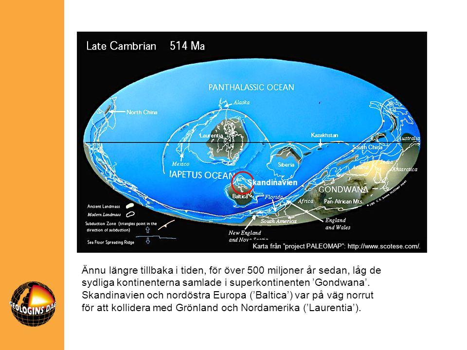 Skandinavien Ännu längre tillbaka i tiden, för över 500 miljoner år sedan, låg de sydliga kontinenterna samlade i superkontinenten 'Gondwana'. Skandin