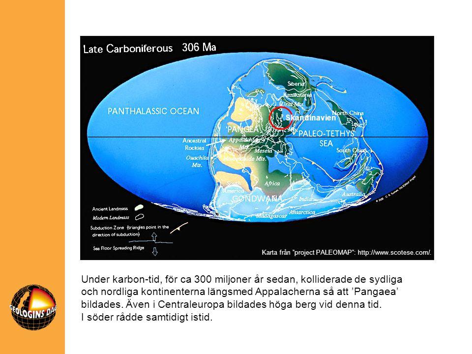 Skandinavien Under karbon-tid, för ca 300 miljoner år sedan, kolliderade de sydliga och nordliga kontinenterna längsmed Appalacherna så att 'Pangaea'