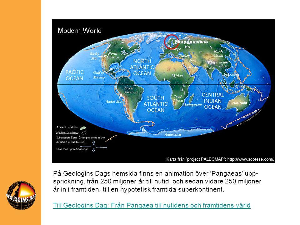 På Geologins Dags hemsida finns en animation över 'Pangaeas' upp- sprickning, från 250 miljoner år till nutid, och sedan vidare 250 miljoner år in i f