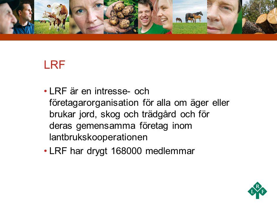 LRF •LRF är en intresse- och företagarorganisation för alla om äger eller brukar jord, skog och trädgård och för deras gemensamma företag inom lantbru