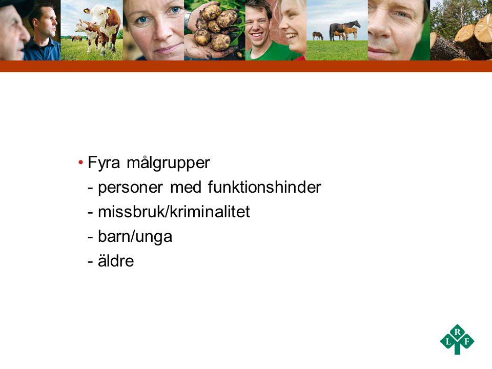 •Fyra målgrupper - personer med funktionshinder - missbruk/kriminalitet - barn/unga - äldre