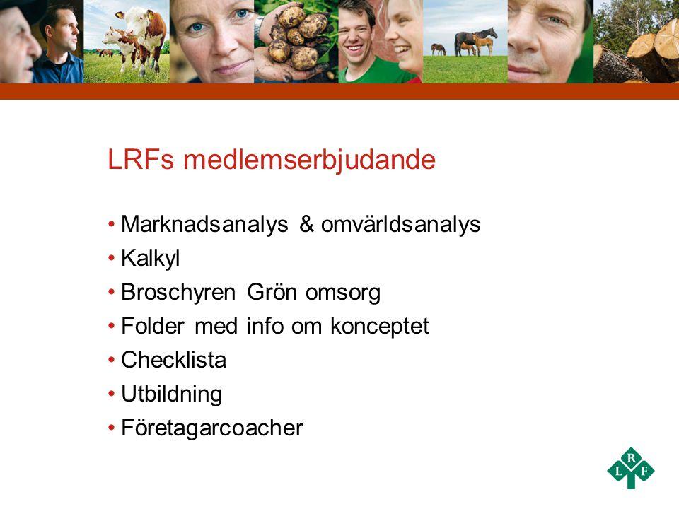 LRFs medlemserbjudande •Marknadsanalys & omvärldsanalys •Kalkyl •Broschyren Grön omsorg •Folder med info om konceptet •Checklista •Utbildning •Företag
