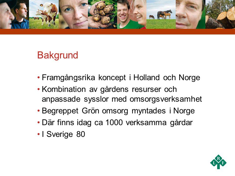 Bakgrund •Framgångsrika koncept i Holland och Norge •Kombination av gårdens resurser och anpassade sysslor med omsorgsverksamhet •Begreppet Grön omsor