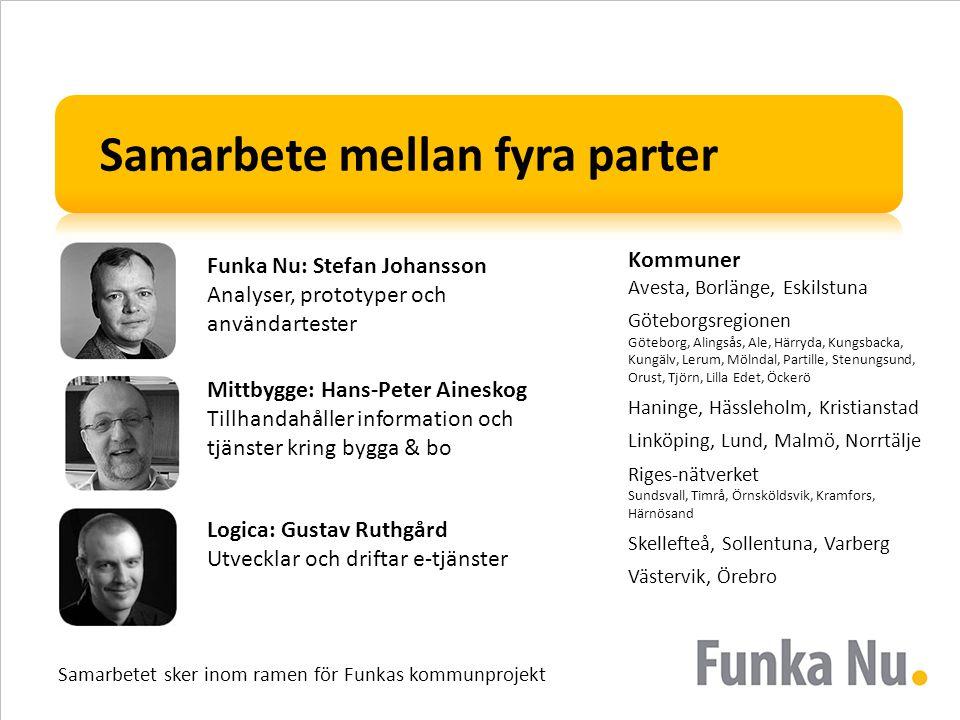 Samarbete mellan fyra parter Funka Nu: Stefan Johansson Analyser, prototyper och användartester Mittbygge: Hans-Peter Aineskog Tillhandahåller informa