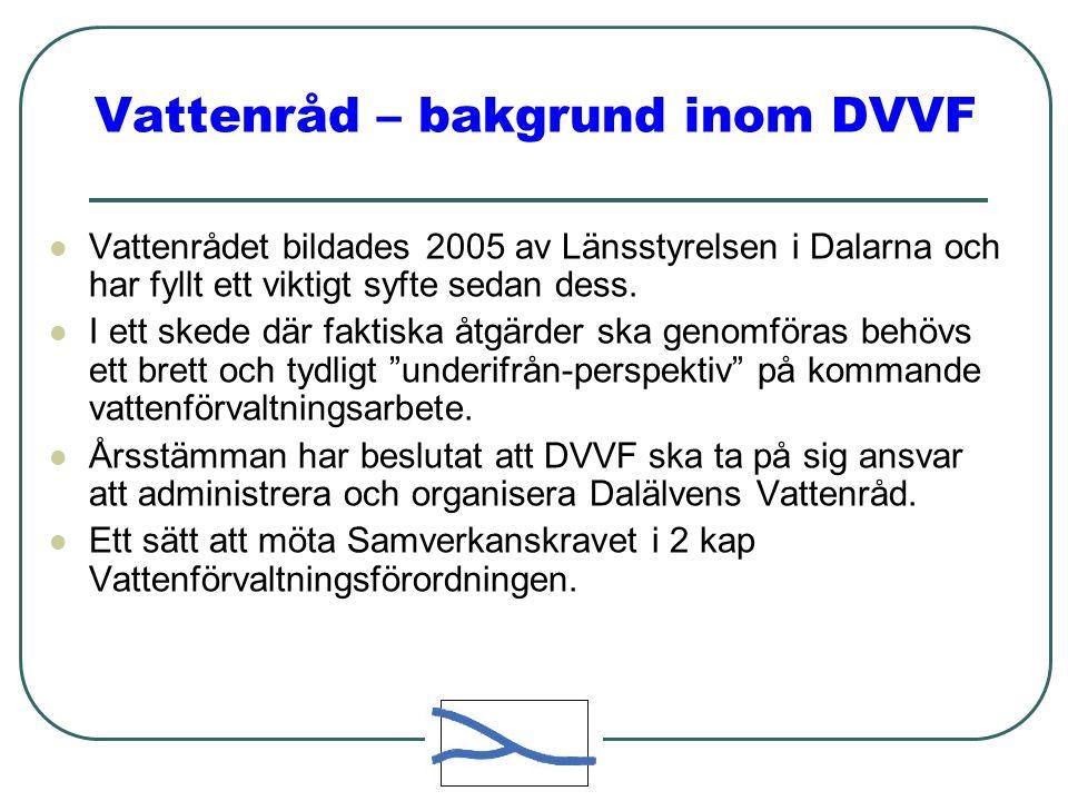 Vattenråd – bakgrund inom DVVF  Vattenrådet bildades 2005 av Länsstyrelsen i Dalarna och har fyllt ett viktigt syfte sedan dess.