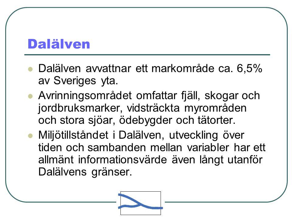 Dalälven  Dalälven avvattnar ett markområde ca. 6,5% av Sveriges yta.