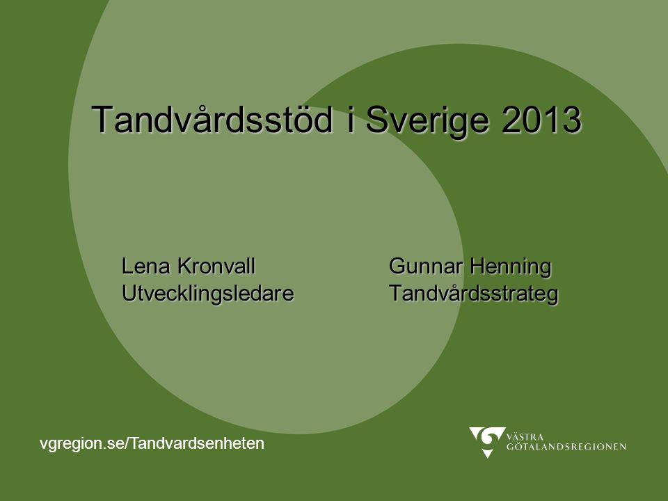 Tandvårdsstöd i Sverige 2013 Lena Kronvall Gunnar Henning Utvecklingsledare Tandvårdsstrateg vgregion.se/Tandvardsenheten
