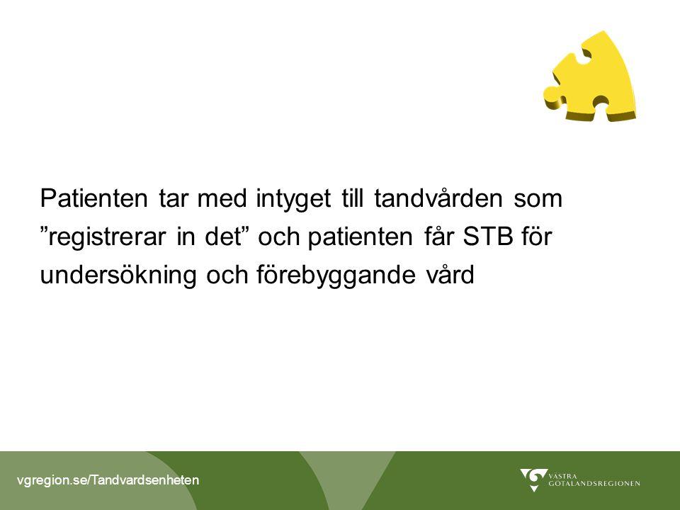 Patienten tar med intyget till tandvården som registrerar in det och patienten får STB för undersökning och förebyggande vård