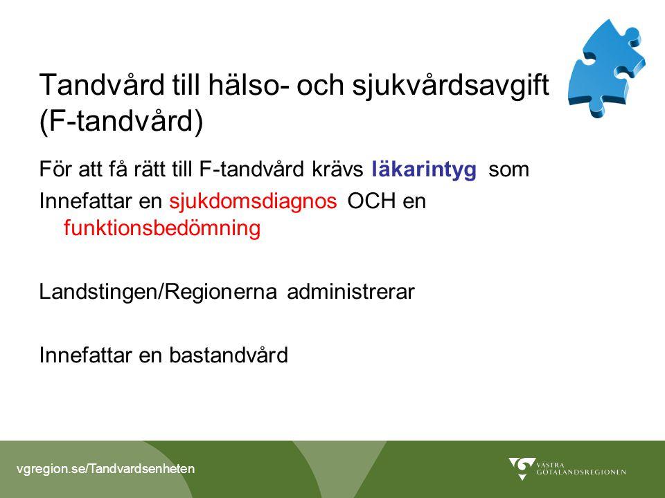 vgregion.se/Tandvardsenheten Tandvård till hälso- och sjukvårdsavgift (F-tandvård) För att få rätt till F-tandvård krävs läkarintyg som Innefattar en sjukdomsdiagnos OCH en funktionsbedömning Landstingen/Regionerna administrerar Innefattar en bastandvård