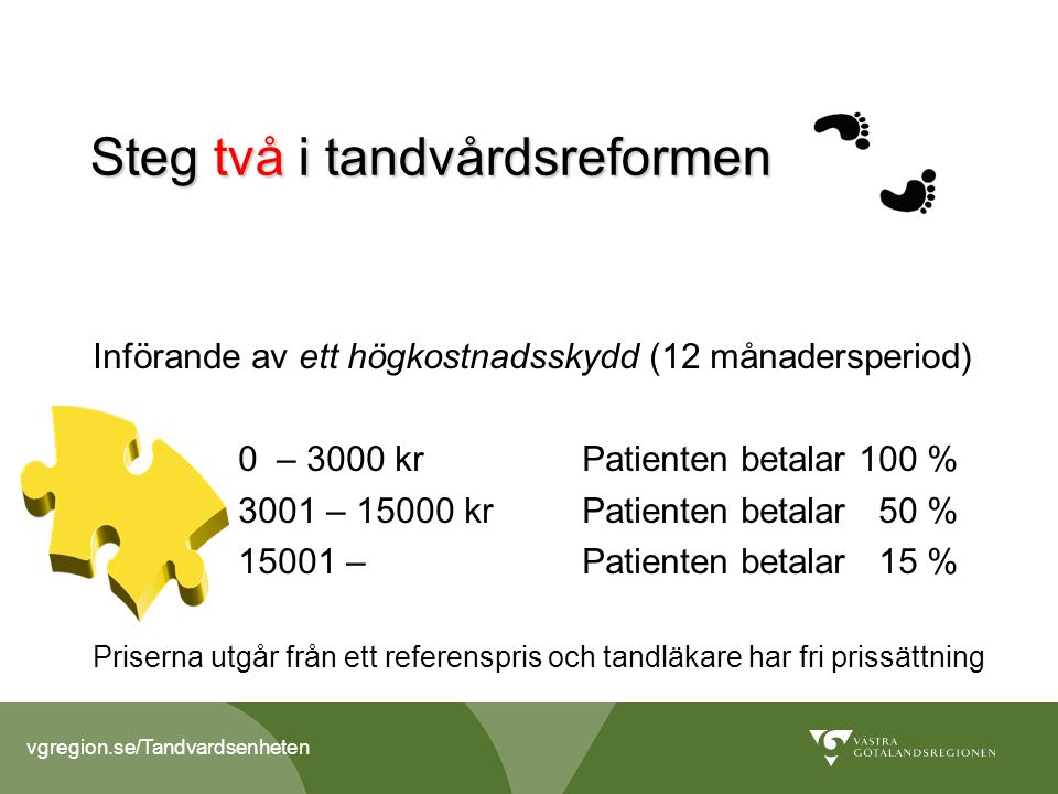 vgregion.se/Tandvardsenheten Tandvårdsstöden i Sverige 2013 Nytt tandvårdsstöd 1 januari 2013 Allmänt tandvårdsbidrag ATB Käkkirurgi Uppsökande verksamhet och nödvändig tandvård till vissa äldre och funktionshindrade N Tandvård som led i kortvarig sjukdoms- behandling S Tandvård för personer med stora behov p.g.a.