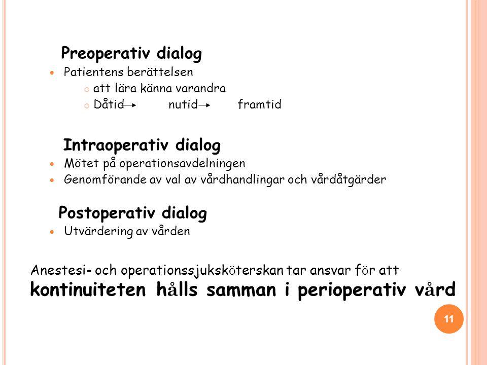 Preoperativ dialog  Patientens berättelsen att lära känna varandra Dåtid nutid framtid Intraoperativ dialog  Mötet på operationsavdelningen  Genomförande av val av vårdhandlingar och vårdåtgärder Postoperativ dialog  Utvärdering av vården Anestesi- och operationssjuksk ö terskan tar ansvar f ö r att kontinuiteten h å lls samman i perioperativ v å rd 11