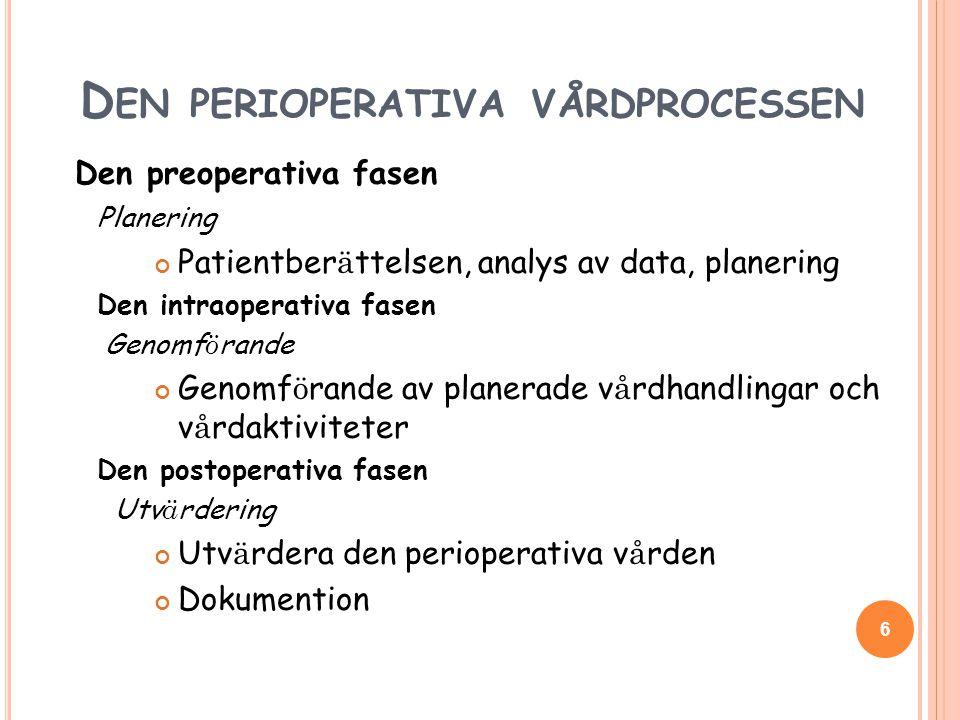 D EN PERIOPERATIVA VÅRDPROCESSEN Den preoperativa fasen Planering Patientber ä ttelsen, analys av data, planering Den intraoperativa fasen Genomf ö rande Genomf ö rande av planerade v å rdhandlingar och v å rdaktiviteter Den postoperativa fasen Utv ä rdering Utv ä rdera den perioperativa v å rden Dokumention 6