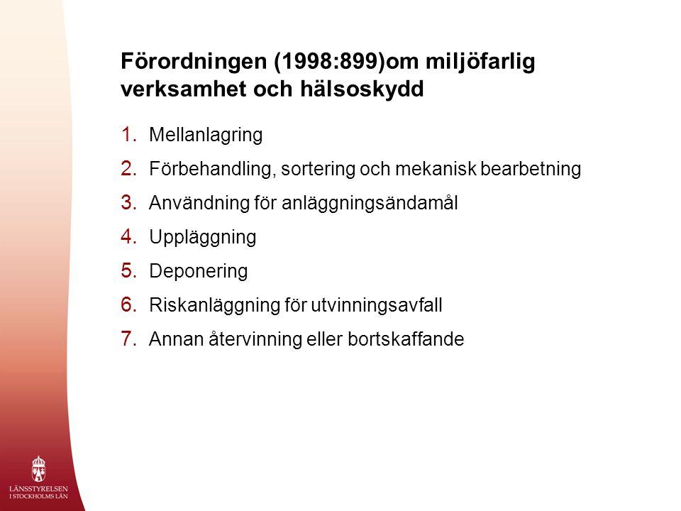 Förordningen (1998:899)om miljöfarlig verksamhet och hälsoskydd 1. Mellanlagring 2. Förbehandling, sortering och mekanisk bearbetning 3. Användning fö