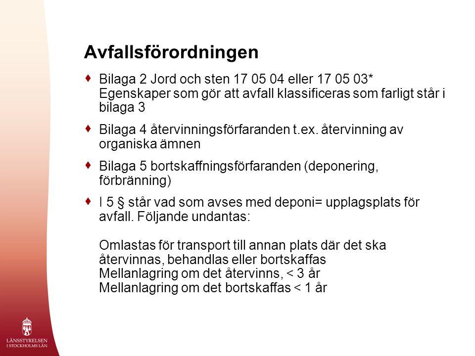 Avfallsförordningen  Bilaga 2 Jord och sten 17 05 04 eller 17 05 03* Egenskaper som gör att avfall klassificeras som farligt står i bilaga 3  Bilaga