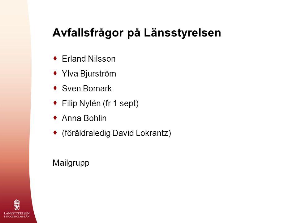  Erland Nilsson  Ylva Bjurström  Sven Bomark  Filip Nylén (fr 1 sept)  Anna Bohlin  (föräldraledig David Lokrantz) Mailgrupp Avfallsfrågor på Lä