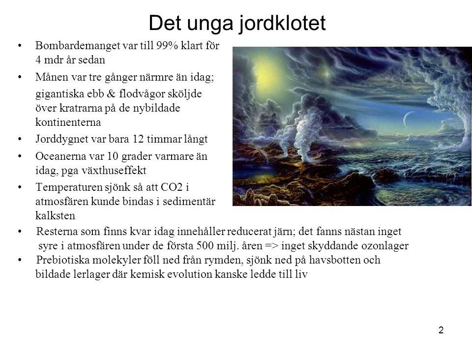 2 Det unga jordklotet •Bombardemanget var till 99% klart för 4 mdr år sedan •Månen var tre gånger närmre än idag; gigantiska ebb & flodvågor sköljde ö