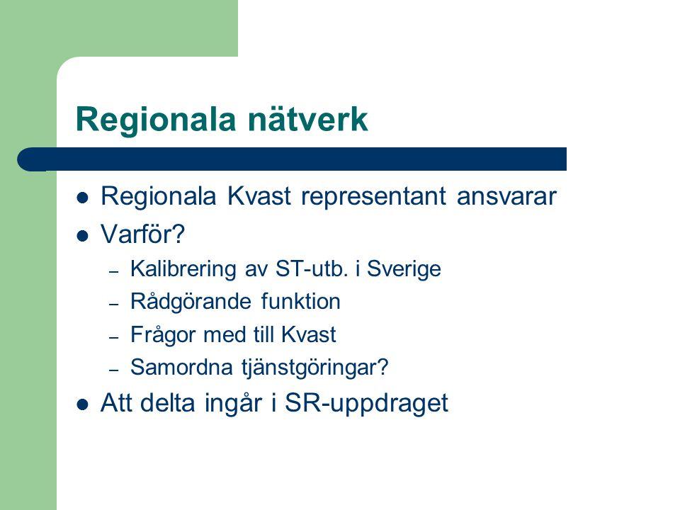 Regionala nätverk  Regionala Kvast representant ansvarar  Varför? – Kalibrering av ST-utb. i Sverige – Rådgörande funktion – Frågor med till Kvast –