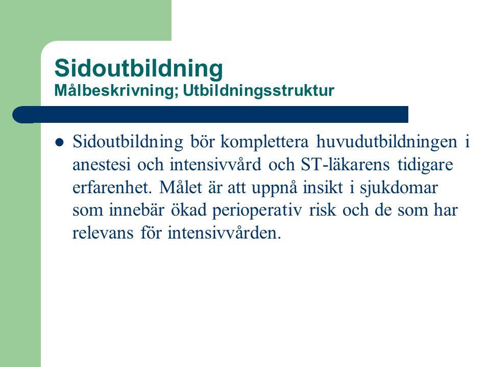 Sidoutbildning Målbeskrivning; Utbildningsstruktur  Sidoutbildning bör komplettera huvudutbildningen i anestesi och intensivvård och ST-läkarens tidigare erfarenhet.