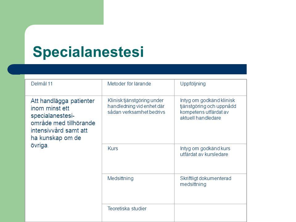 Specialanestesi Delmål 11Metoder för lärandeUppföljning Att handlägga patienter inom minst ett specialanestesi- område med tillhörande intensivvård samt att ha kunskap om de övriga.