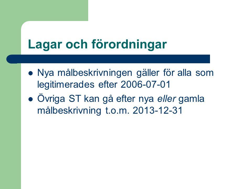 Lagar och förordningar  Nya målbeskrivningen gäller för alla som legitimerades efter 2006-07-01  Övriga ST kan gå efter nya eller gamla målbeskrivning t.o.m.