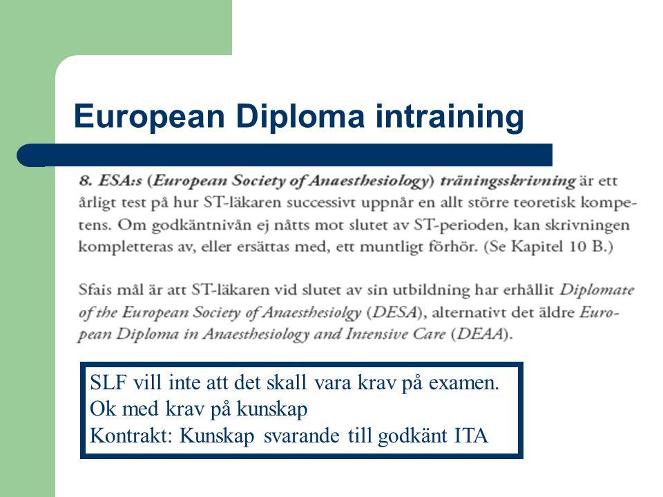 European Diploma intraining SLF vill inte att det skall vara krav på examen. Ok med krav på kunskap Kontrakt: Kunskap svarande till godkänt ITA