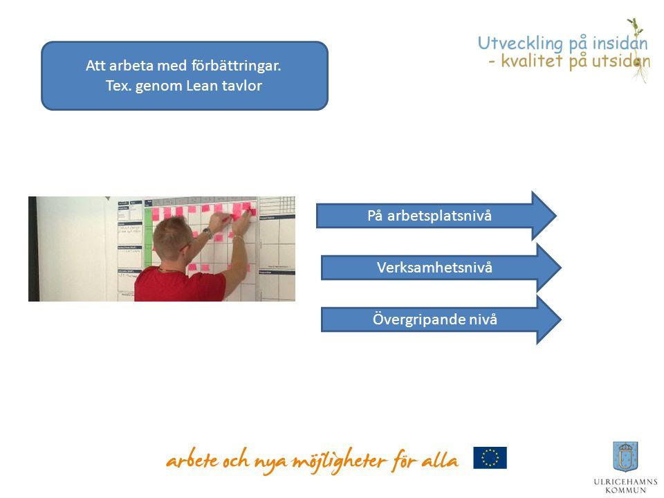 Att arbeta med förbättringar. Tex. genom Lean tavlor På arbetsplatsnivå Verksamhetsnivå Övergripande nivå