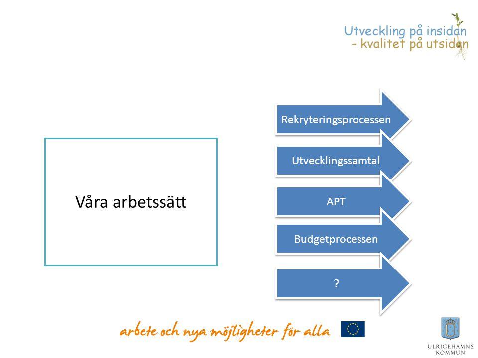 s förslag Våra arbetssätt Rekryteringsprocessen Utvecklingssamtal APT Budgetprocessen ? ?