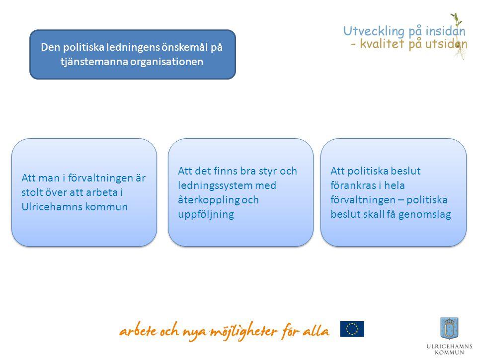 Att man i förvaltningen är stolt över att arbeta i Ulricehamns kommun Att det finns bra styr och ledningssystem med återkoppling och uppföljning Att p